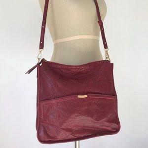 Elie Tahari red leather crossbody bag